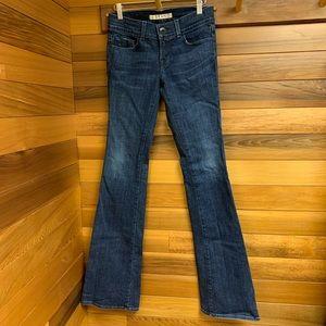 J Brand Dark Indigo Blue Slim Wide Flare Jeans